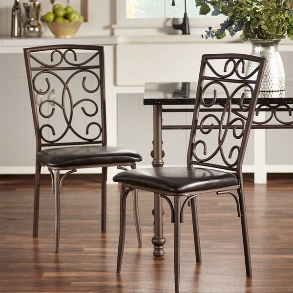 zella bistro metal scroll black bi cast vinyl dining chairs set of 4