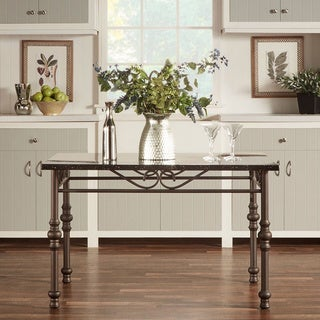 TRIBECCA HOME Zella Bistro Faux Marble Top Metal Scroll Dining Table