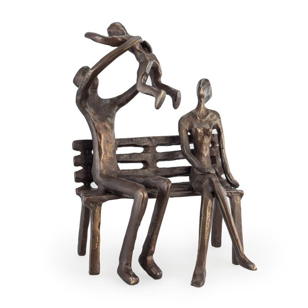 Danya B. Couple with Baby on Bench Bronze Sculpture