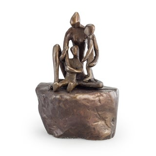 Danya B. Mother with Children on Rock Bronze Sculpture