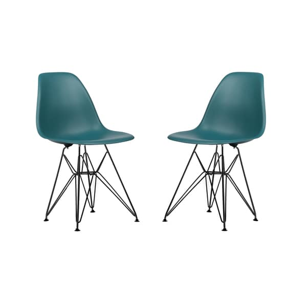 Edgemod Padget Side Chair with Black Coated Wire Base (Set of 2)