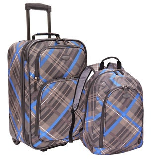 U.S. Traveler by Traveler's Choice Blue/ Grey 2-piece Carry-on Rolling Upright and Backpack Luggage Set