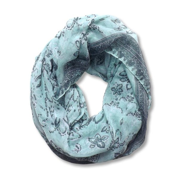 Peach Couture Mint Floral and Paisley Print Infinity Scarf