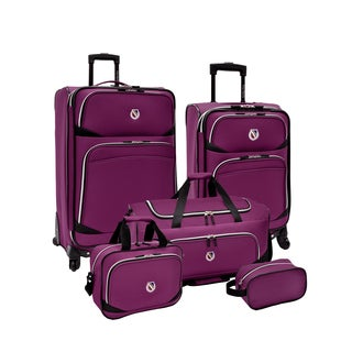 Beverly Hills Country Club by Traveler's Choice San Vincente Purple 5-piece Spinner Luggage Set