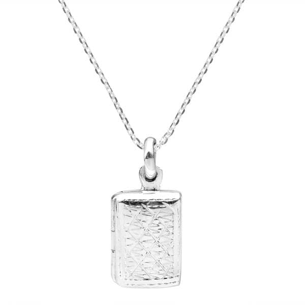 Handmade Edged Design Rectangle Locket Sterling Silver Necklace (Thailand) 15347737