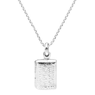 Edged Design Rectangle Locket Sterling Silver Necklace (Thailand)
