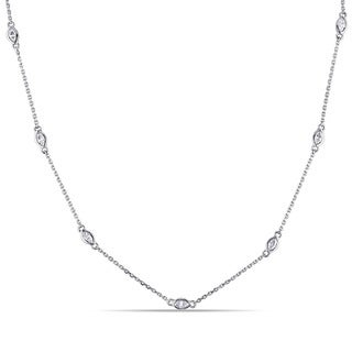 Miadora 14k White Gold 2/5ct TDW Marquise Diamond Station Necklace (G-H, SI1-SI2)