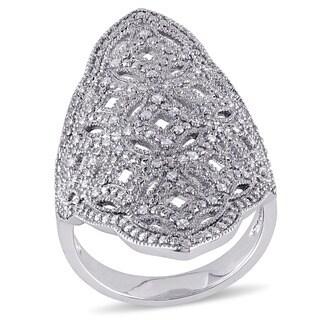 Miadora Sterling Silver 1/4ct TDW Diamond Cocktail Ring (G-H, I2-I3)