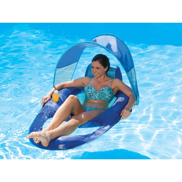 Spring float recliner with canopy 17257242 overstock for Motorized lounge chair pool float