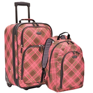 U.S. Traveler by Traveler's Choice Pink Plaid 2-piece Carry-on Rolling Upright and Backpack Luggage Set