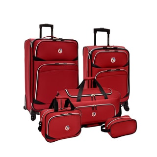 Beverly Hills Country Club by Traveler's Choice San Vincente Red 5-piece Spinner Luggage Set