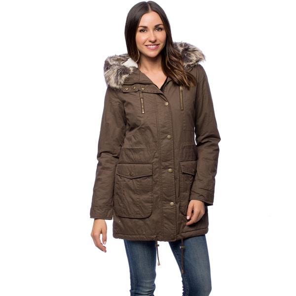 BCBG Women's Mocha Long Faux Fur Hooded Sherpa Parka