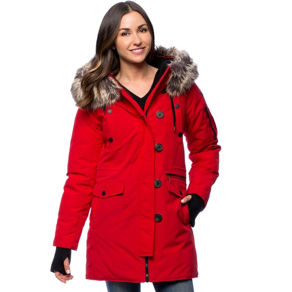 BCBG Women's Red Snorkel Faux Fur-lined Coat