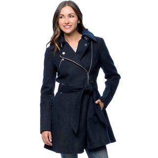 BCBG Women's Asymmetrical Skirted Navy Wool Coat