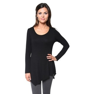 FTL Long Asymmetrical Handkerchief Hem Fitted Tunic