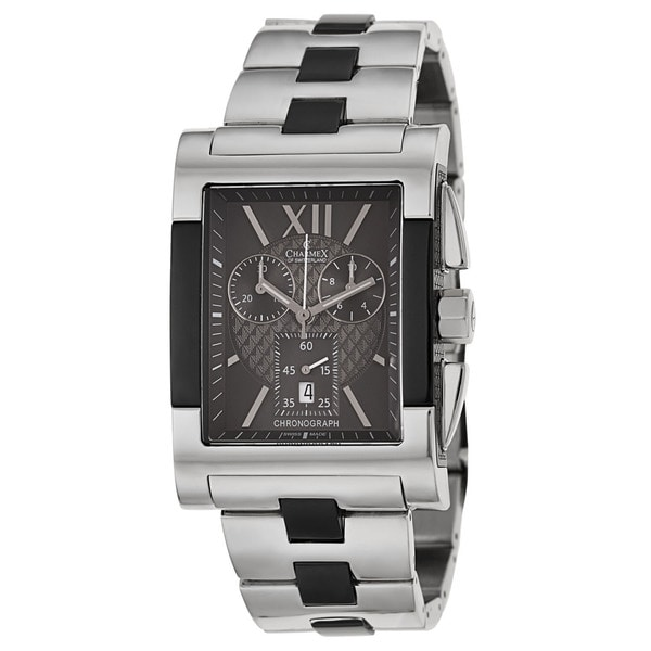 Charmex Men's 'Lausanne' Stainless Steel and Black Swiss Quartz Watch