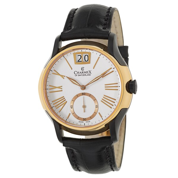 Charmex Men's 'St. Tropez' Stainless Steel Rose Gold Plated and Black PVD Coated Swiss Quartz Watch