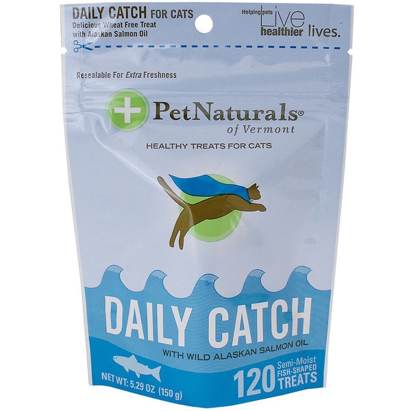 Pet Naturals of Vermont Daily Catch with Wild Alaskan Salmon Oil Cat Treats, 5.29-oz bag, 120 count