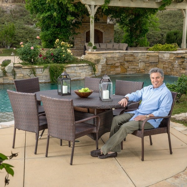 Blakely Outdoor 7-piece Wicker Dining Set by Christopher Knight Home -  295827