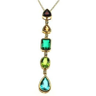 Michael Valitutti Gold Plated Silver Multi Gemstone Pendant
