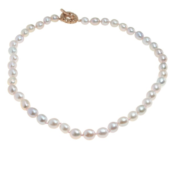 Michael Valitutti Pearl neckalce with Rose Gold Plated Silver Toggle