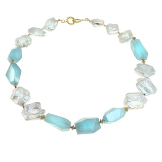 Michael Valitutti Sterling Silver Aquamarine & Pearl Necklace