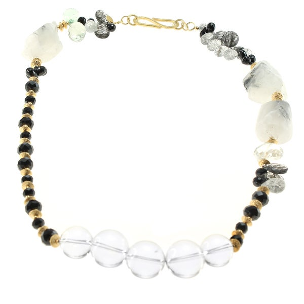 Michael Valitutti Silver Black Spinel & Black Tour Quartz Necklace with Green Amethyst 15350347