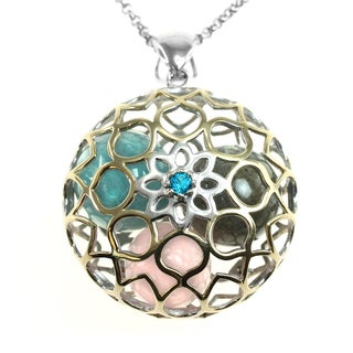 Michael Valitutti Silver Lotus Cage With Beads Pendant