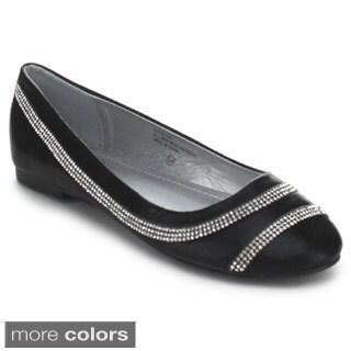Italina SF1444 Women's Glitter Rhinestone Slip On Ballet Flats