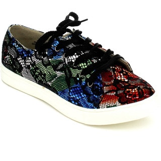 Chase & Chloe ELSA-2 Women's Flower Pattern Lace Overlay Sneakers