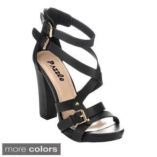 Pazzle HELEN-04 Women's Open Toe Strappy Chunky Heels