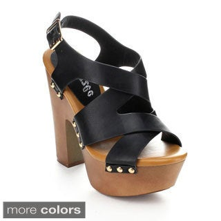 Pazzle ROME-03 Women's Open Toe Platform Wide Strappy Heels