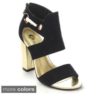 Machi GOLDENA Women's Peep Toe Golden Chunky Heel Back Zip Fashion Dress Heels