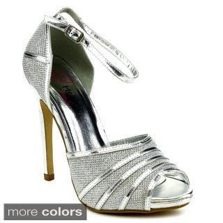 I Heart Collection AUDREY-05 Women's Glitter Designed Ankle Strap Heels