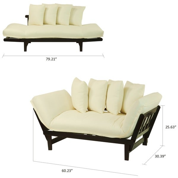 Lounger sofa bed futon solid wood frame bedroom decor for Solid wood futon sofa bed