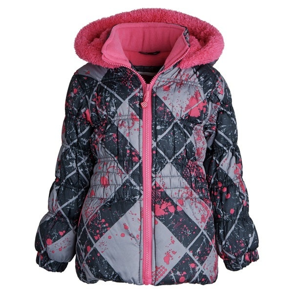 Big Chill Little Girls Fleece Lined Down Alternative Puffer Bubble Winter Jacket