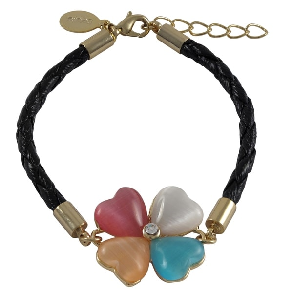 Goldtone Multi-color Four-leaf Clover Flower Braided Cord Bracelet