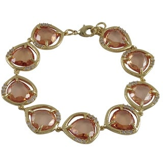 Goldtone Glass and Cubic Zirconia Link Bracelet
