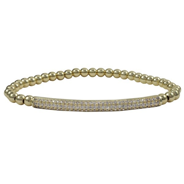 Luxiro Gold Finish Pave Cubic Zirconia Bar and 4 mm Ball Stretch Bracelet 15352458