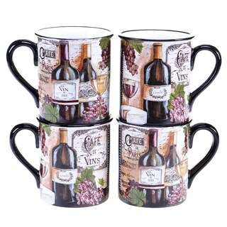 Certified International Grand Vin 16-ounce Mug, 2 Assorted Designs (Set of 4)