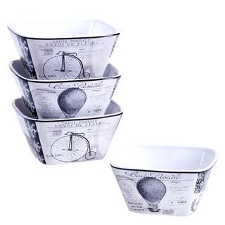 Certified International Paris Travel Ice Cream Bowls, 5.5-inch x 2.5-inch, 2 Assorted Designs (Set of 4)
