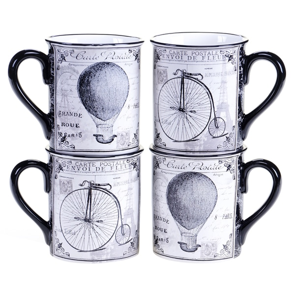 Certified International Paris Travel 16-ounce Mug, 2 Assorted Designs (Set of 4)