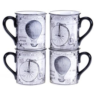 Certified International Paris Travel 16-ounce Mug, 2 Assorted Designs (Set of 4)