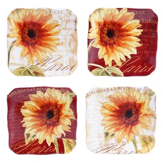 Certified International Paris Sunflower 5.75-inch Canape Plates (Set of 4)