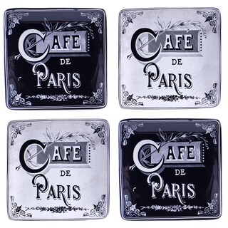 Certified International Paris Travel 6-inch Canape Plates (Set of 4) Assorted Designs