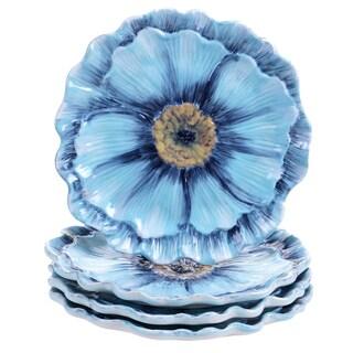 Certified International Tuileries Garden 3-D Poppy 8-inch Dessert Plate (Set of 4)