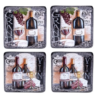 Certified International Grand Vin 8.5-inch Salad/Dessert Plates, 2 Assorted Designs (Set of 4)