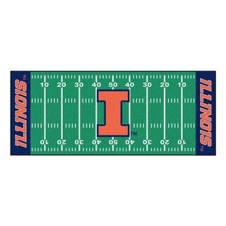 Fanmats Machine-made University of Illinois Green Nylon Football Field Runner (2'5 x 6')