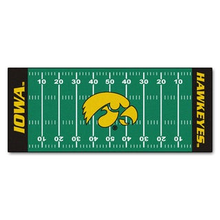 Fanmats Machine-made University of Iowa Green Nylon Football Field Runner (2'5 x 6')
