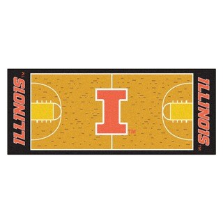 Fanmats Machine-made University of Illinois Gold Nylon Basketball Court Runner (2'5 x 6')